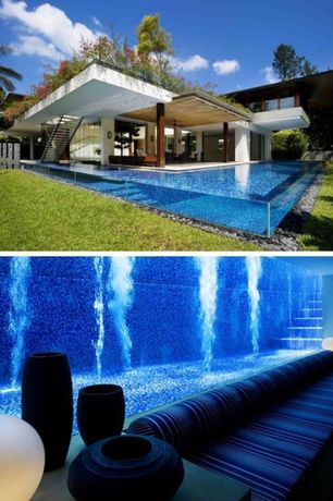 Modern Swimming Pool with Custom pool by Guz Architects, Raised beds, Pathway, Lap pool, Infinity pool, Fence, Green roof