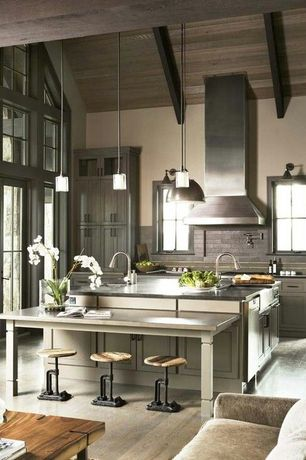 Contemporary Kitchen with Limestone Tile, One-wall, Soapstone counters, Pendant light, Flush, French doors, flush light