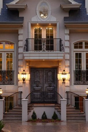 Traditional Exterior of Home with French doors, Pathway, Transom window