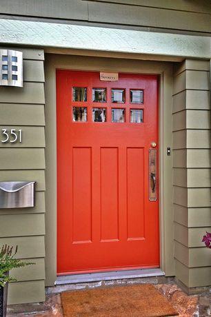 Modern Front Door with exterior stone floors, Glass panel door