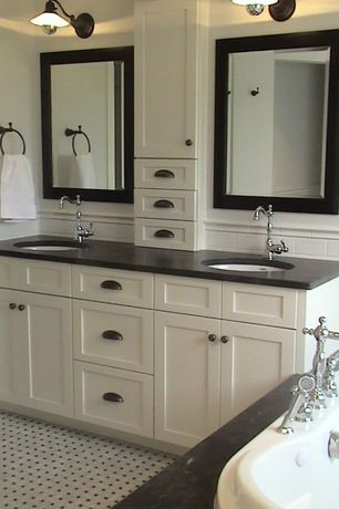 Traditional Master Bathroom with drop in bathtub, Standard height, Subway Tile, Undermount sink, Soapstone counters, Flush