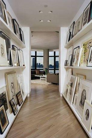 Contemporary Hallway with flush light, Laminate floors, Built-in bookshelf