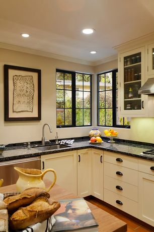 Country Kitchen with Ceramic Tile, Glass panel, Kitchen island, Crown molding, European Cabinets, Flat panel cabinets, Flush