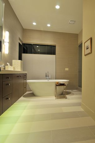 Contemporary Full Bathroom with frameless showerdoor, Undermount sink, High ceiling, Flat panel cabinets, Freestanding, Flush
