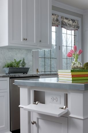 Traditional Kitchen with High ceiling, Painted shaker cabinet, Carrera marble backsplash, Concealed outlet, Slate counters