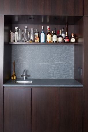 Contemporary Bar with Standard height, can lights, Built-in bookshelf