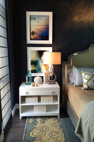 Contemporary Master Bedroom with interior wallpaper, Hardwood floors, Standard height