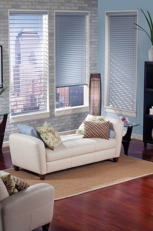 Modern Living Room with interior brick, Hardwood floors