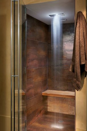 Contemporary Master Bathroom with Floor and decor metallic brown porcelain tile, frameless showerdoor, Rain shower