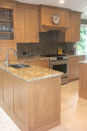 Traditional Kitchen with French doors, Glass panel, Flush, Undermount sink, Kitchen island, Flat panel cabinets, Custom hood