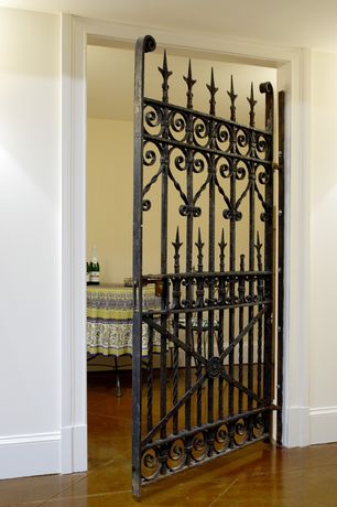 Eclectic Hallway with travertine tile floors, Amazing Gates Garden Gates, specialty door
