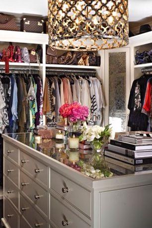 Contemporary Closet with Pendant light, Carpet, Frontgate Metal Patterned Chandelier, Built-in bookshelf