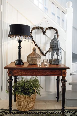 Cottage Entryway with Mesquite wood turned leg english side table, High ceiling, Hardwood floors, Oberlin table lamp