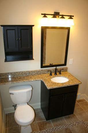 Full Bathroom with tiled wall showerbath, Flush, Flat panel cabinets, Amber yellow, High ceiling, Built-in bookshelf
