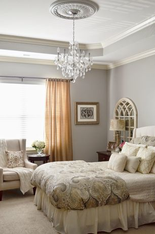 Traditional Master Bedroom with Crown molding, Schonbek Six-Light Heritage Crystal Chandelier, Chandelier, Carpet