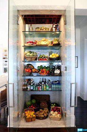 Contemporary Kitchen with Crown molding, Hardwood floors, Floating glass shelf, Custom refrigerator