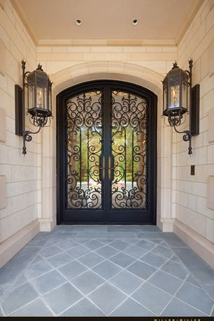 Mediterranean Front Door with French doors, Pathway, Ivy 76 Wrought Iron Front Door, exterior stone floors