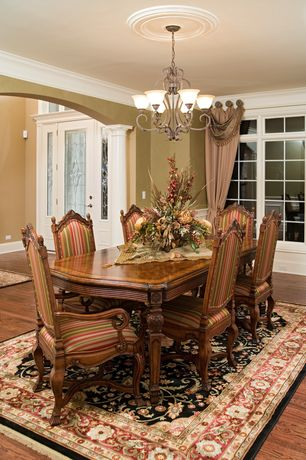 Traditional Kitchen with Standard height, Chandelier, Wainscotting, Crown molding, Columns, Casement