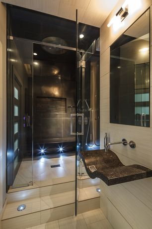 "Contemporary Master Bathroom with George kovacs chrome 20"" wide bathroom light fixture, Shower, Built-in shower bench"
