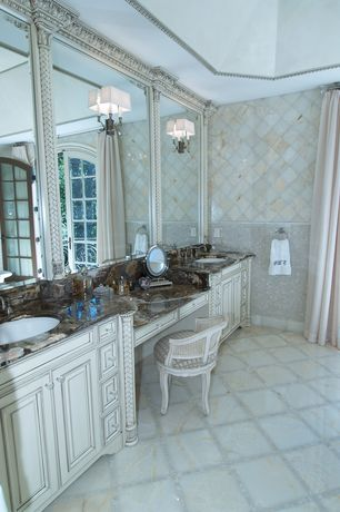 Traditional Master Bathroom with Belhurst swivel vanity chair, Onyx, ceramic tile floors, Undermount sink, Onyx counters