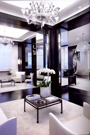 Contemporary Living Room with flush light, Paint 1, Hardwood floors, Standard height, Restoration Hardware Lino Rug White