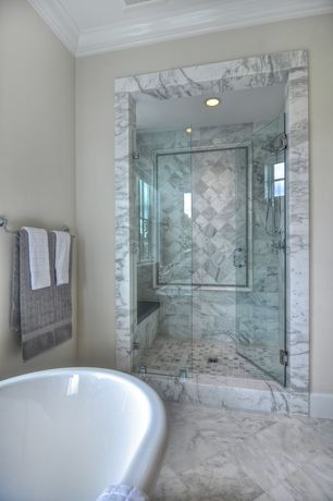"Traditional Master Bathroom with 12x12 marble tile (Greecian White), frameless showerdoor, Marble mosaic tile (1""x1"")"