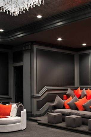 Contemporary Home Theater with Crown molding, Carpet, Paint 2, can lights, Paint 1, Mircofiber couch, Acoustic panel