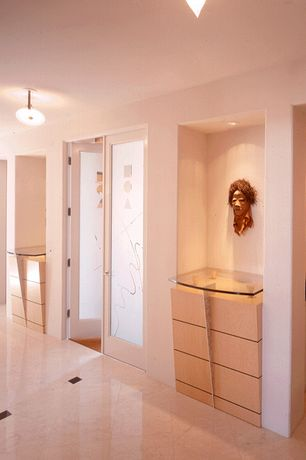 Contemporary Hallway with can lights, French doors, sandstone tile floors, Pental - Bianco Perlino Honed Marble, flush light