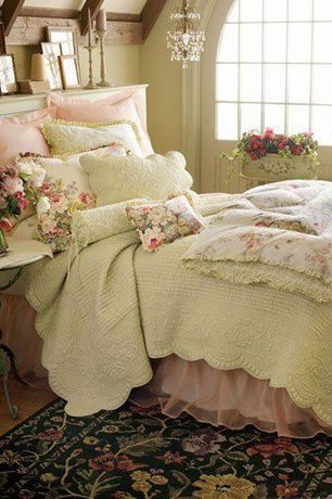 Cottage Guest Bedroom with American Traditions French Tile Quilt, Lovely Decor Subtle Rose Duvet Cover Set, Chandelier