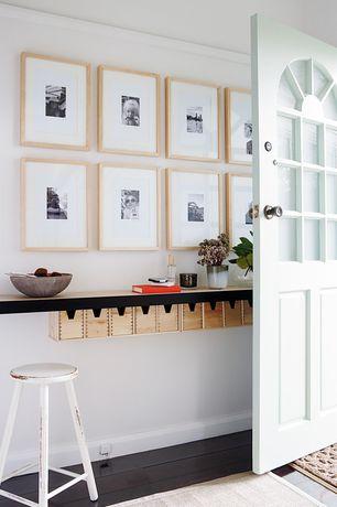 Cottage Entryway with specialty door, Ikea forhoja box, Painted wood floor, Blick nielsen bainbridge ecocare frames