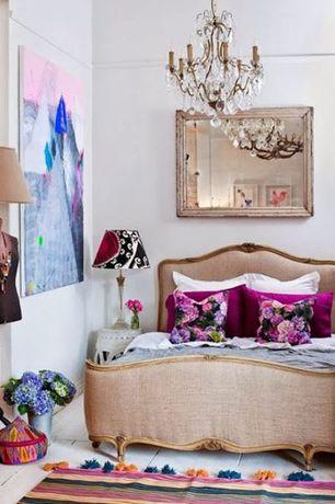 Eclectic Guest Bedroom with Michael ashton designs essex victoria queen linen bed, Chandelier, Hardwood floors