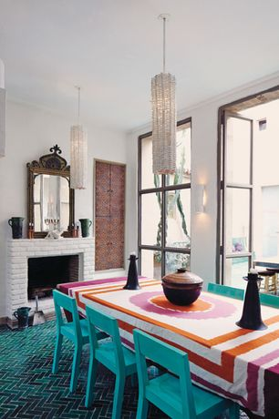 Eclectic Dining Room with Carpet, Crown molding, Pendant light, French doors, Wall sconce