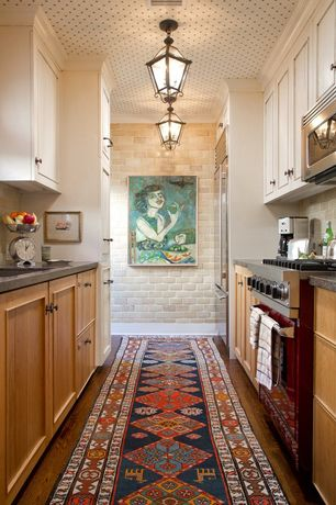 Eclectic Kitchen with flush light, Exposed brick, Stone Tile, Quartz countertops, Decorative ceiling, Limestone Tile, Galley