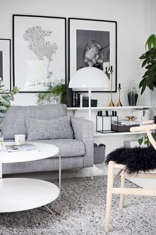 Contemporary Living Room with Built-in bookshelf, Laminate floors