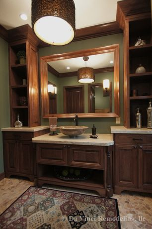 Craftsman Powder Room with China Stone Sinks - Beige Travertine Stone Sink with Wide Rim, Flush, Powder room, Vessel sink