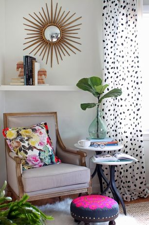 "Eclectic Living Room with 20"" Throw Pillow Summer Rose Print, Fabric footstool, Safavieh sun mirror, Nesting table"