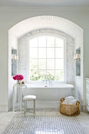 Traditional Master Bathroom with Master bathroom, Carrara basket weave mosaic tile ann sacks, Freestanding, High ceiling