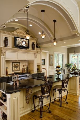 Contemporary Kitchen with Breakfast bar, Powell Big And Tall Scroll Circle Back Bronze Bar Stool, Custom hood, Kitchen island