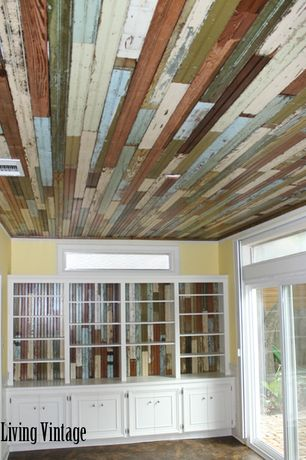 Country Living Room with Multi color Wood panel Print pure paper Wallpaper, Beadboard ceiling, Reclaimed wood