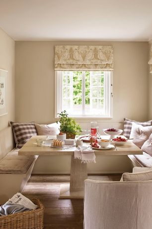 Cottage Dining Room with Paint, The shade store custom aventura roman shade, Standard height, Casement, Hardwood floors