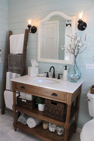 Cottage Full Bathroom with Shades of Light Vintage Traditions Wall Sconce, Limestone counters, Pottery Barn Rustic Ladder, 5'