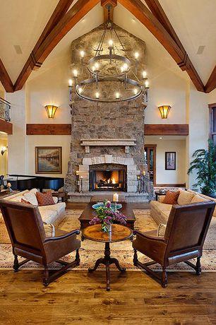 Traditional Living Room with Safavieh Lyndhurst Beige - Ivory Area Rug, Exposed beam, Hardwood floors, Wainscotting