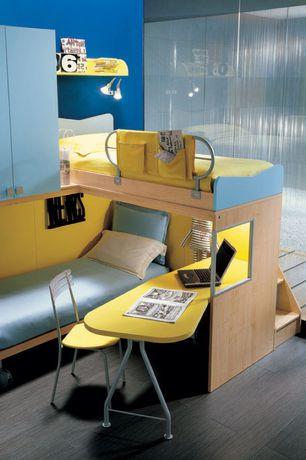 Contemporary Kids Bedroom with Bunk beds, Built-in bookshelf, Laminate floors