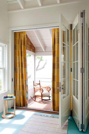Cottage Master Bedroom with Carpet, High ceiling, Exposed beam, Jeld-Wen Aurora Custom Fiberglass Folding Patio Door