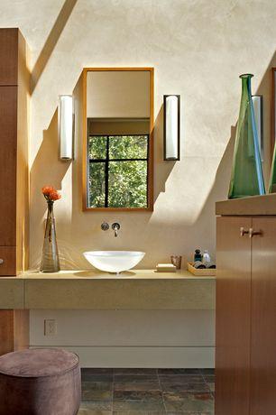 Contemporary Master Bathroom with Wall sconce, Powder room, MS International Ramon Gold Limestone, Flush, Vessel sink