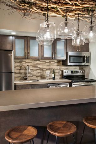 "Contemporary Kitchen with West elm globe pendant, 11"", clear, Undermount sink, Random tile backsplash, Quartz counters"