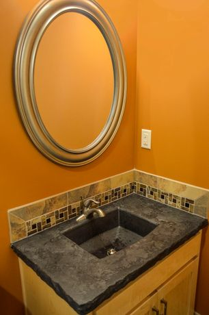 Rustic Powder Room with Undermount sink, Powder room, Flat panel cabinets, Standard height, Custom concrete sink, Stone Tile