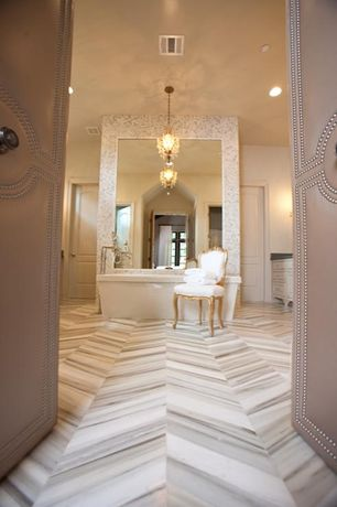 Contemporary Master Bathroom with specialty door, Margaux French Country Carved Shield Back Dining Chair, Chandelier