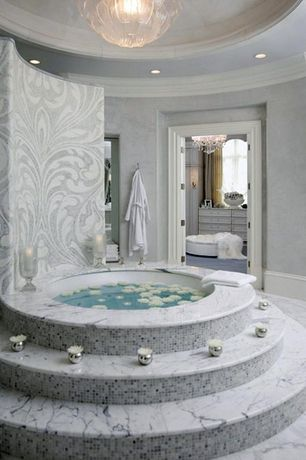 Traditional Master Bathroom with Crown molding, Oregon Tile & Marble White Carrara Marble, Master bathroom, Arched window