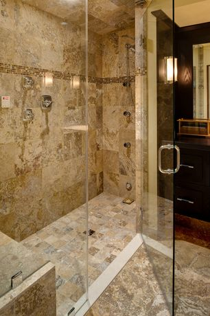 Contemporary Master Bathroom with MS International Roma Travertine, frameless showerdoor, Wood counters, Wall sconce